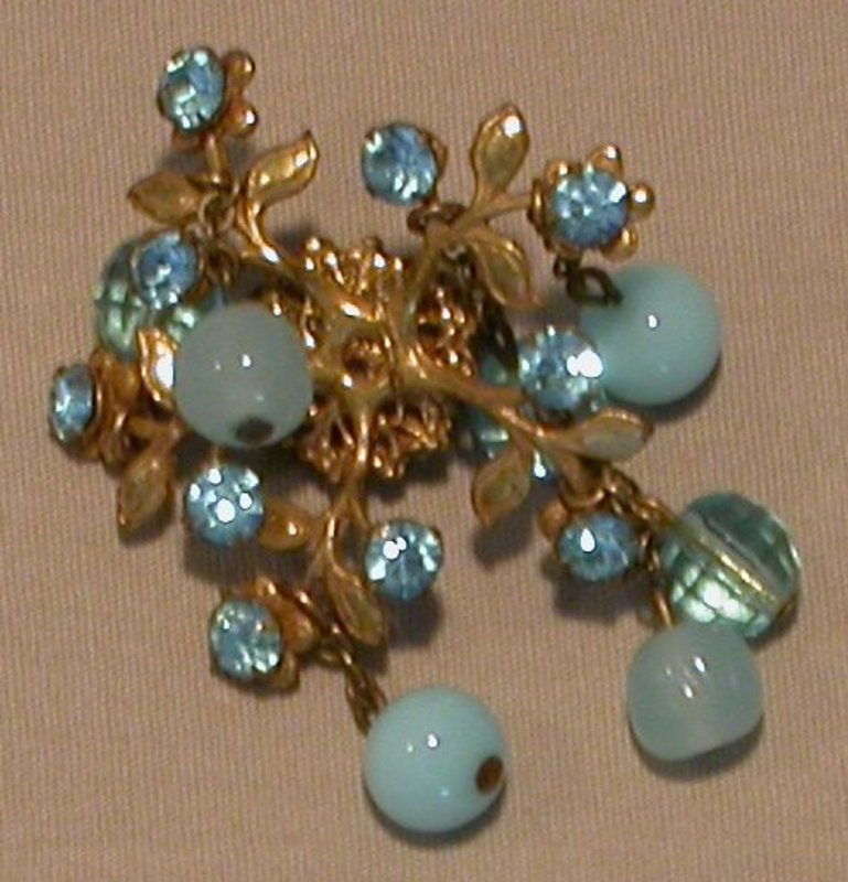 MIRIAM HASKELL BLUE GLASS BROOCH AND EARRINGS