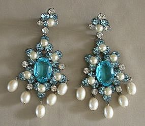 LAWRENCE VRBA PEARL AND AQUA DANGLE EARRINGS