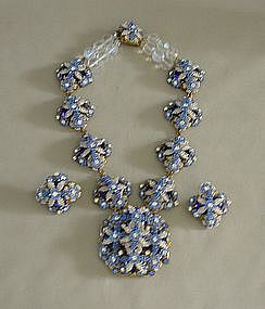 STANLEY HAGLER BLUE BEAD AND CRYSTAL SET