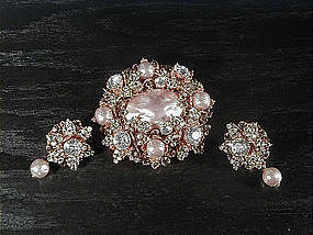 MIRIAM HASKELL BROOCH AND EARRINGS