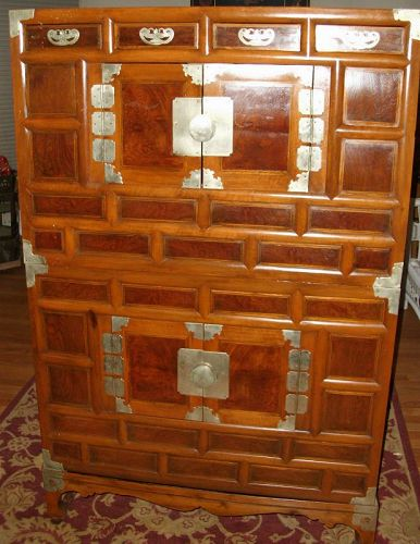 Beautiful Antique Korean chest-over-chest from late 1800s Joseon Korea