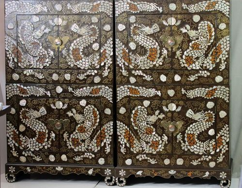 Rare pair of Korea mother of pearl chest-over-chest