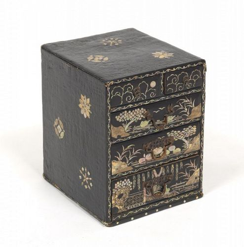 Antique Korean Mother-Of-Pearl Lacquer Box