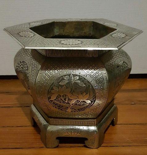 Very Rare 19th century Silver-Inlaid Incense Burner