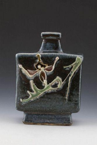 Kawai Kanjiro (founder of Mingei w/ Hamada Shoji), Square Bottle-Vase