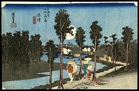 Original Hiroshige Woodblock - Numazu - Hoeido Tokaido