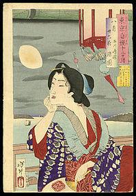 Yoshitoshi Woodblock Beauty - Somezono Watching Moon