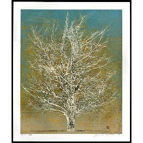 Joichi Hoshi Woodblock - Tree (white)