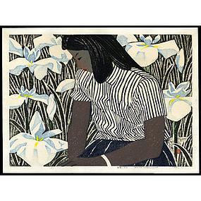 Okiie Hashimoto Woodblock - Girl and Irises
