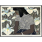 Okiie Hashimoto Woodblock - Girl and Irises