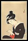 Bijin Woodblock by Kikuchi Keigetsu