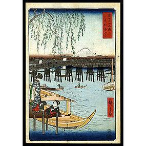 Original Japanese Woodblock Print by Hiroshige - Ryogoku Bridge