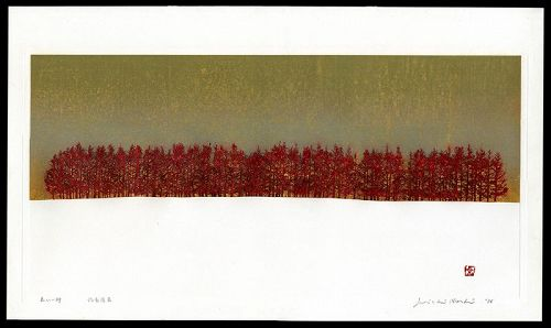 Large Limited Edition Woodblook by Joichi Hoshi - Red Line