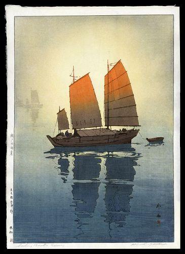 Original Hiroshi Yoshida Print - Sailing Boats (Morning)