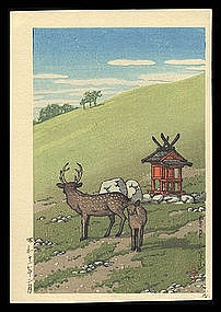 Hasui Woodblock from Muller Estate - Strolling Deer