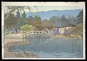 Hiroshi Yoshida Woodblock: Maruyama Park in Kyoto