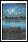 Hasui Woodblock - Full Moon at Arakawa River