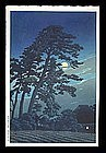 Hasui Woodblock - Full Moon at Magome