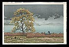 Hasui Woodblock - Rainy Lake in Matsue
