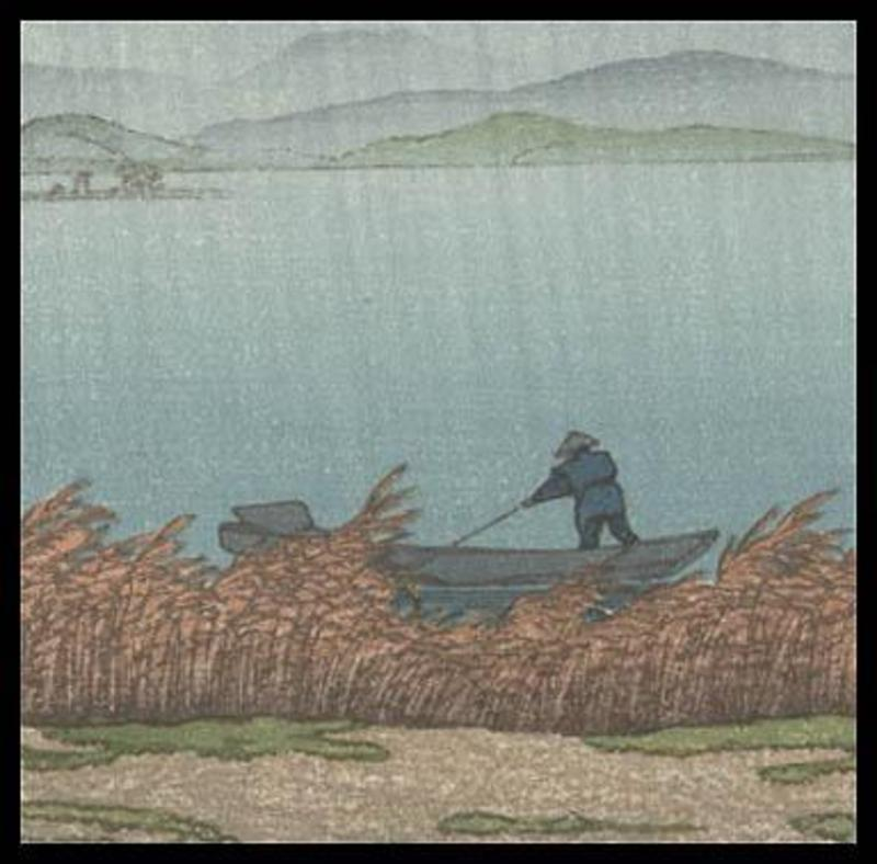 Hasui Woodblock - Rainy Lake in Matsue