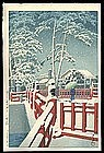 Hasui Woodblock - Snow at Yagumo Bridge