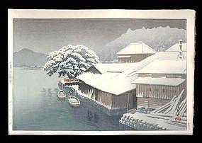 Hasui Woodblock - Evening Snow at Ishimaki