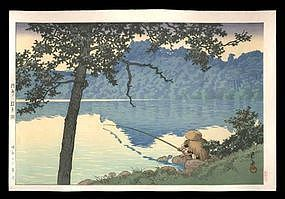 Hasui Woodblock - Lake Matsubara on a Morning