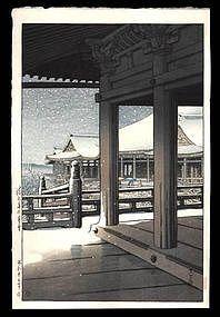 Hasui Woodblock - Snowfall at Kiyomizu Temple