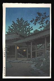Hasui Woodblock - Night at Hasedera Temple