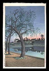 Hasui Woodblock - Sunset Glow at Otemon Gate