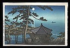 Hasui Woodblock - Full Moon at Izu-ura