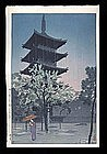 Shiro Kasamatsu Woodblock - Pagoda in Rain