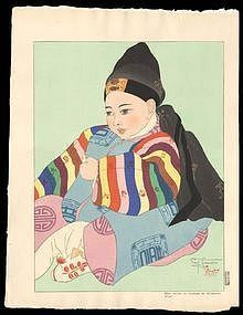 Jacoulet Woodblock - Korean Baby in Costume