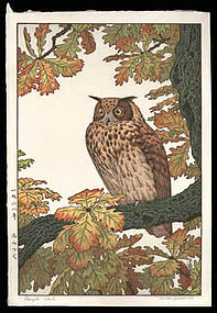 Signed Toshi Yoshida Woodblock - Eagle Owl