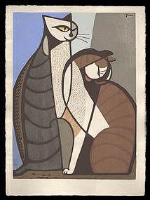 Tomoo Inagaki Woodblock - Couple of Cats