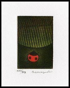 Yozo Hamaguchi Mezzotint - Ladybird and Leaf