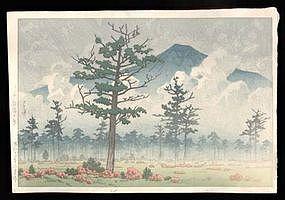 1937 Woodblock by Hasui - Senjogahara Field