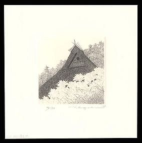 Pristine Tanaka Ryohei Etching: Thatched Roof