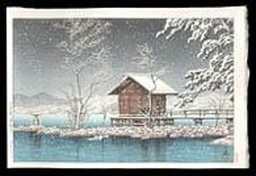 Hasui Woodblock - A Small Shrine in Snow