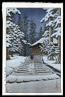 Hasui Woodblock - Konjikido in Snow