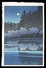 Hasui Woodblock - Spring Night at Inokashira