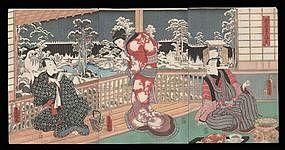 Toyokuni III Woodblock - Kabuki Triptych