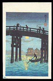 Shotei Hiroaki Woodblock - Moonlit Bridge
