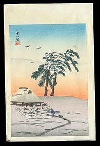 Shotei Hiroaki Woodblock - Snowy Dawn