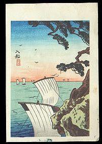 Shotei Hiroaki Woodblock - Sailing Back