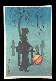 Shotei Hiroaki Woodblock - Woman at Night