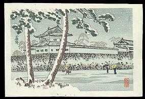 Shotei Hiroaki Woodblock: Nijo Castle Snow