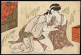 Erotic japanese print woodblock