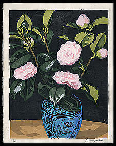 Early Tomoo Inagaki Woodblock - Camellias