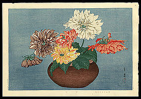 Taisui Woodblock - Dahlias - Muller Estate